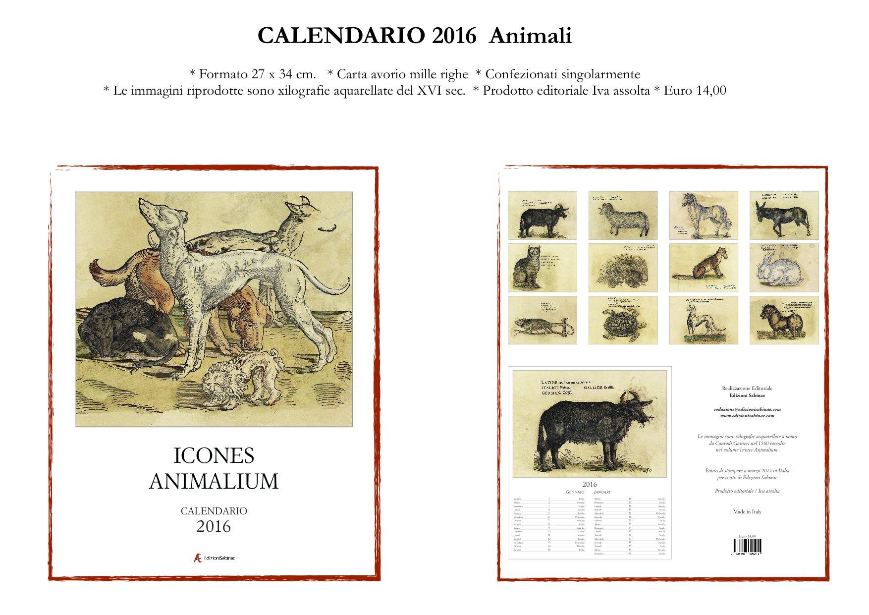scheda Calendario Animali  2016