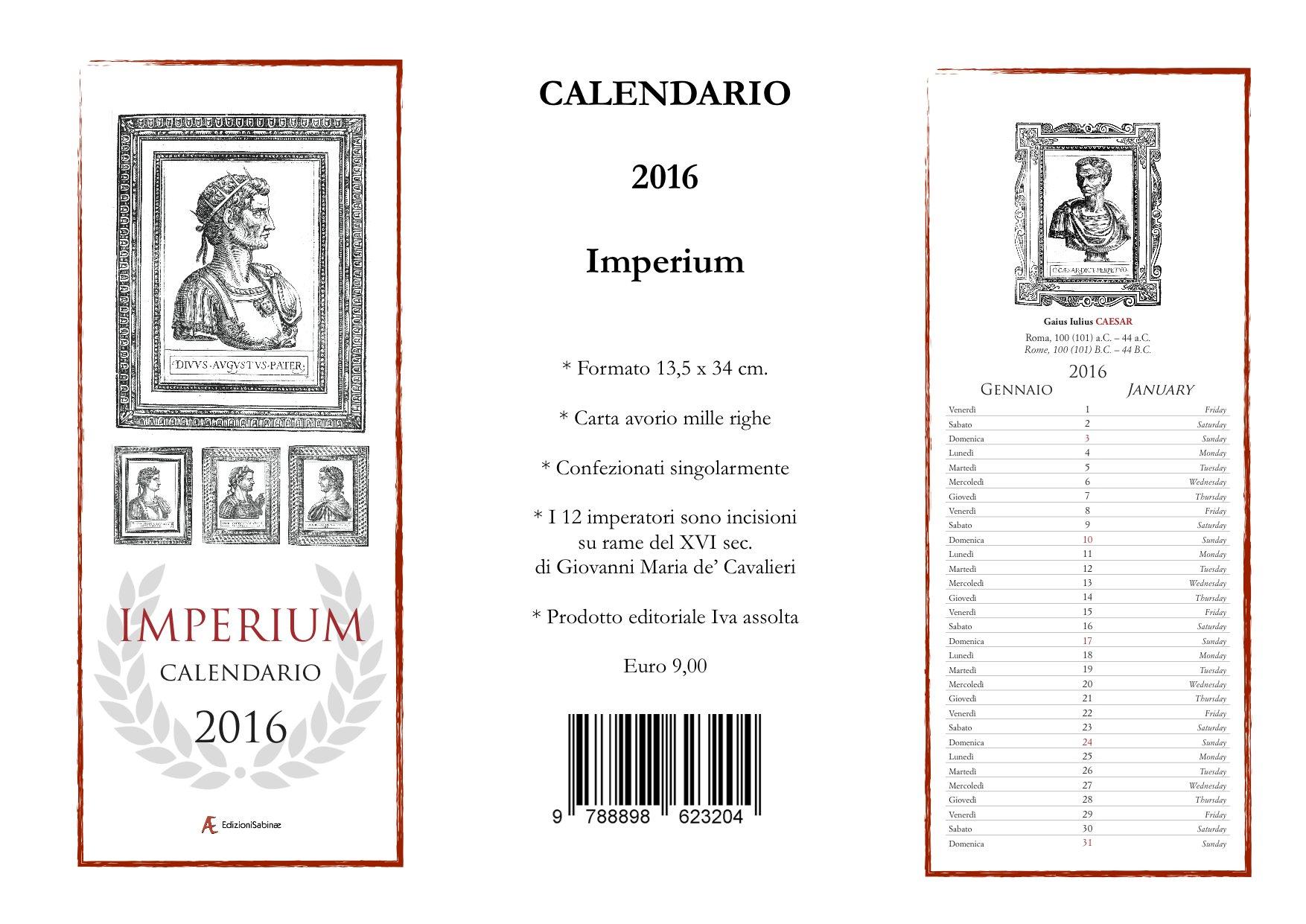 scheda Calendario Imperium 2016