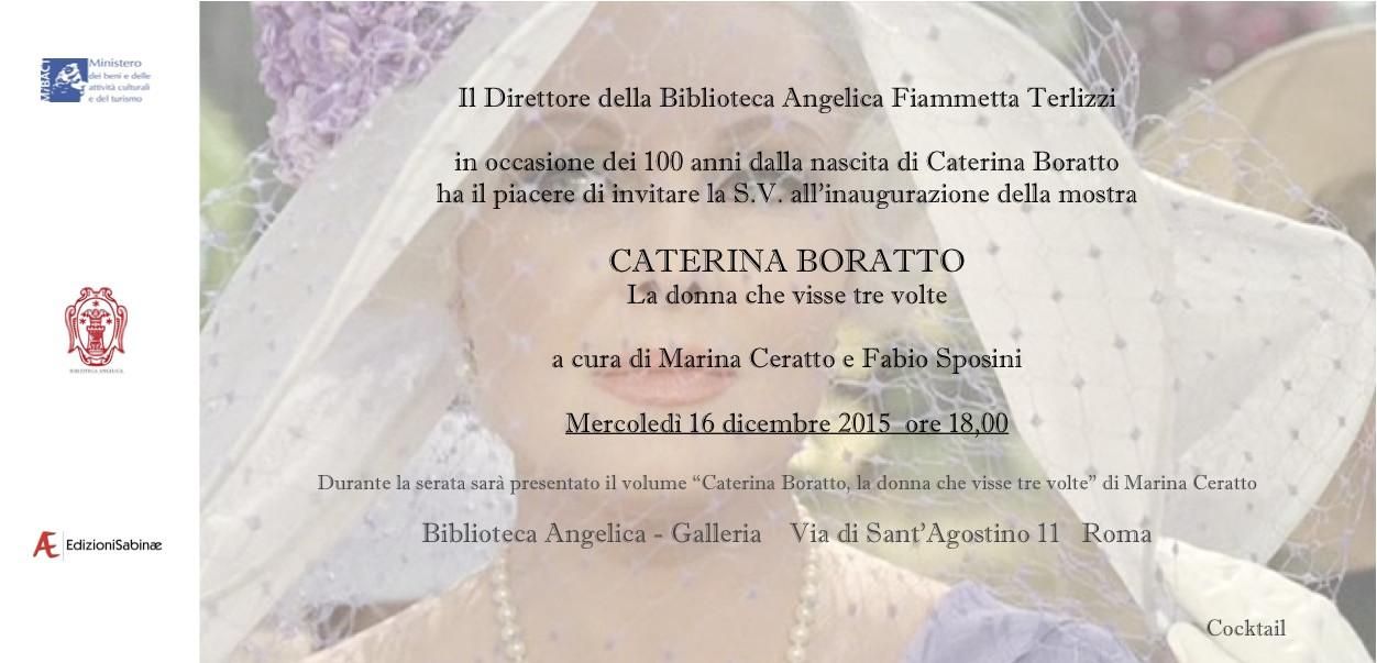Invito Caterina Boratto 100 anni -  16 dicembre 2015